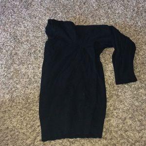 Plus size stretch black crew neck sweater